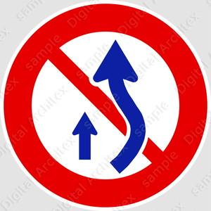 【イラスト】追越しのための右側部分はみ出し通行禁止の 交通標識