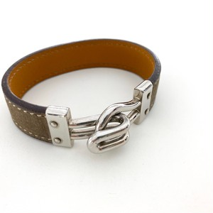 HERMES leather bracelet beigegray
