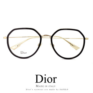 Dior メガネ stellaire009 2m2 眼鏡 ディオール 多角形 メタル 黒縁