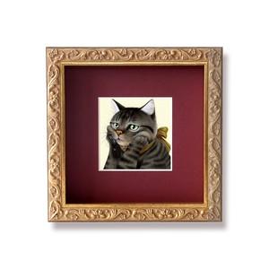 頬杖をつくキジトラ 原画 / Cat Is Resting Her Face on Her Paws Original Artwork