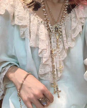 【c】gold♡pearl Rosary necklace