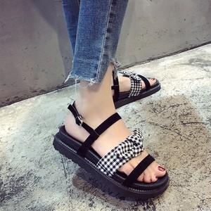 【sandals】ribbon mixed material  platform sandals