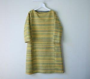 絹紬 黄鶸色横段 テトラワンピ長袖 Mサイズ
