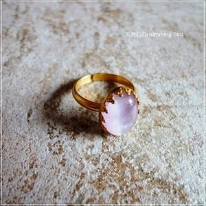 天然石の指輪◆クンツァイト◆クラウンシリーズ