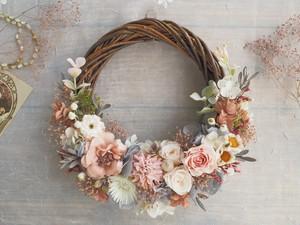 Lune Bonheur <Rose nature> *受注制作 *ハーフムーンリース*プリザーブドフラワー*春*リース*お花*ギフト*結婚祝い*ひなまつり*記念日
