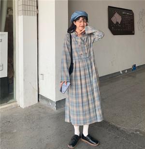 【ワンピース】レトロ文芸風着痩せ長袖単列ボタンスーツワンピース