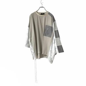 Wide-T-shirts mut Pocket (light beige/grey)