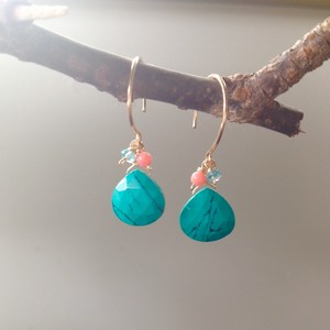 Treasure in the Sea... *Green Turquoise 14Kgf ピアス