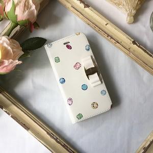 名入れ対応【リボンあり】ジュエル柄スマホケース♪ドット風の宝石模様が大人かわいい♪ カラフルな手帳型iPhoneケース♪