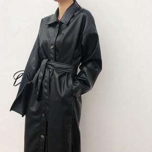 PU Leather Big Silhouette Long Coat PUレザー ビッグシルエット ロング コート