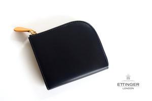 エッティンガー|ETTINGER|ブライドルレザーLジップマルチウォレット|ブラック×イエロー