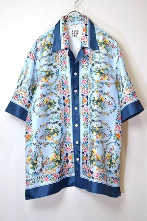 CLASSIC FLOWER SCARF SHIRT (LIGHT BLUE)