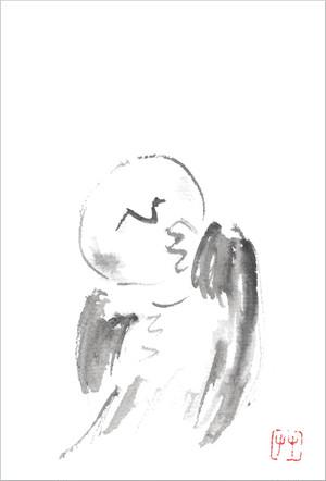 葉書「笑羅」筆:白雪芥子