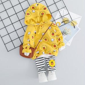 【子供服】プリントストライプ柄長袖フード付きキュートガールズ2点セット22552274