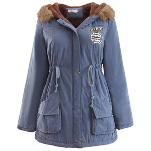 9653アウター レディース  コート  ロング   ミリタリーコート 裏ボア ロング  暖かい 防寒 フード付き 大きいサイズ ブルー
