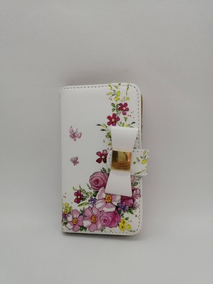 【デコパージュ】ホワイトリボン付き スマホケース 手帳型(ピンク花柄)