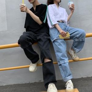 [即納]韓国ファッション  3way ジップデニムパンツ