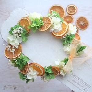 フルーツ花冠スライスオレンジ&ラスティックかすみ草&ハイドランジアYELLOW×LIME