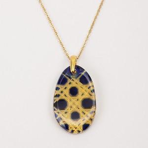 江戸切子 ペンダント 伝統工芸 無料包装 結婚祝 還暦祝 誕生日 クリスタルガラス(琥珀瑠璃色)ネックレス