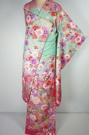 美品 銀通し 金銀箔 振袖 牡丹 桜 正絹 黄緑 ピンク 019