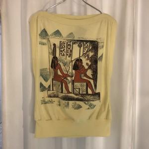 エジプト文明プリントノースリーブカットソー