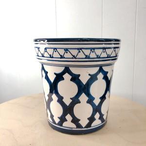モロッコ アラベスク柄陶器鉢 ネイビー