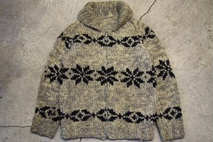 USED Vintage Cowichan sweater -M-L 0814