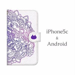Android用 ネコタングル white 手帳型マルチスマホケース
