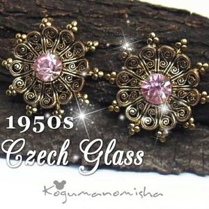 繊細な細工★ピンク ラインストーン ヴィンテージ イヤリング 1950s 大ぶり アールデコスタイル