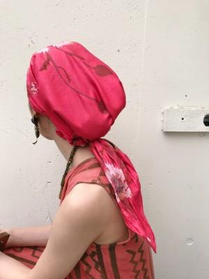 Vintage pink floral scarf ( ヴィンテージ ピンク 花柄 スカーフ )