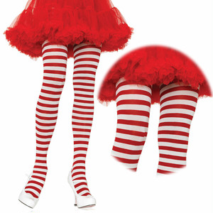 クリスマスハロウィンにぴったり♪【パンティストッキング】白×赤 ボーダーパンティストッキング LA7100WR