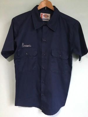 dickies ディッキーズ 刺繍入 ワークシャツ リサイズ スモール ネイビー 紺