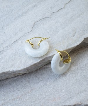 【ANNI LU /アニールー 】Cloudy Bay - White Shell Hoop Pierce / ピアス