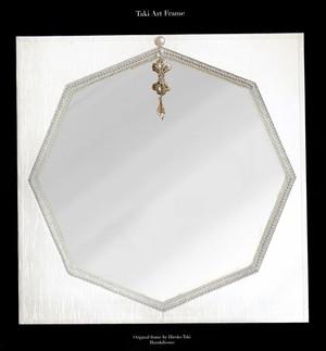 8角形の白い鏡(50-60cm)