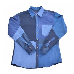 藍染 パネル切り替え ハンドメイド シャツ Aizome Panel Shirts 008 size2