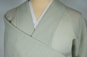 紗紬【夏】 色無地 一つ紋 正絹 白緑 黄緑 282