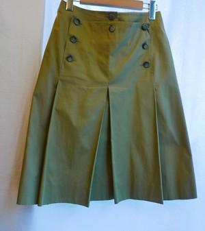 CHANEL Khaki Pleated Skirt