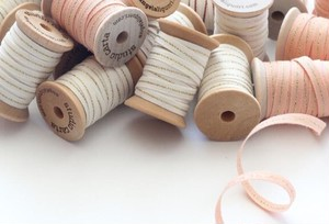 "METALLIC LINE WOOD SPOOL COTTON RIBBON 1/4"" 5 yards【Studio Carta】"