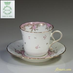 ナルミボーンチャイナ花柄ピンクカップ&ソーサーT1282