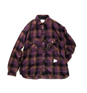 【and wander】thermonel check shirt