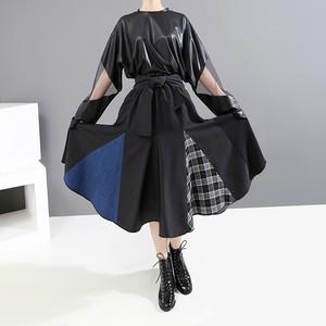 モード系 フレアスカート 異形素材 ゴシック Aライン ハイウエスト 20代 30代 オルチャン