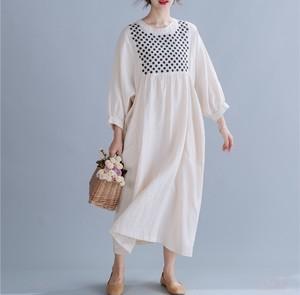 【ワンピース】オススメ合わせやすいシンプルロング配色綿麻長袖カジュアルワンピース43657608