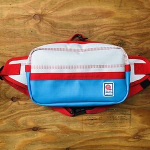 ウエストバッグ バイカラー 白×赤×青