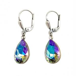 ピアス ドロップ クリスタル オーロラ KRiKOR ドイツ製 Pierce Drop-crystal Aurora