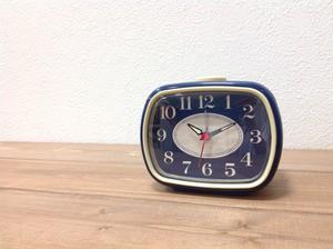 アナログアラームクロック ネイビー  置き時計 アラーム付き 目覚まし時計
