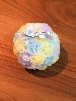ふわふわボール(水色×薄黄色×薄紫)