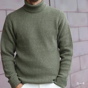 ウールカシミヤコットンリブタートルネックセーター