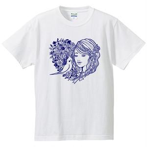 オカメインコと少女Tシャツ/ホワイト