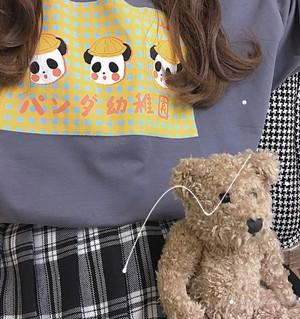 【トップス】日系レトロ春夏プリントスウィートラウンドネック半袖Tシャツ