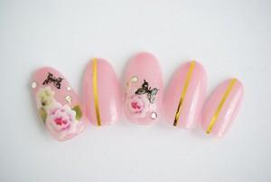 【送料無料】牡丹×蝶の和風ピンクネイルチップ